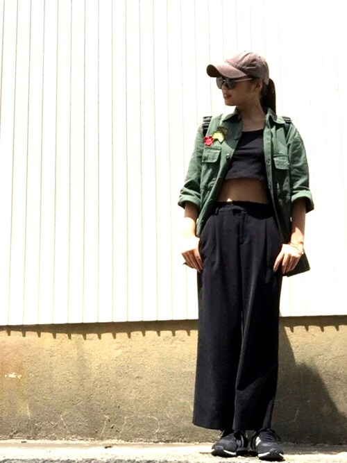 misatoさんの「FOREVER 21 crisscross-back crop top(Forever 21)」を使ったコーディネート