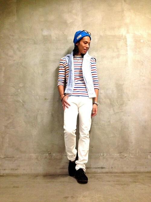 AVIREX  札幌RIKUさんのTシャツ/カットソー「avirex/アヴィレックス/メンズ/DAILY 3/4 SLEEVE CREW NECK BORDER T-SHIRT/デイリー 七分袖 ボーダー クルーネック Tシャツ(AVIREX|アヴィレックス)」を使ったコーディネート