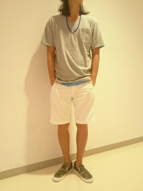 AVIREX 横浜SASAMURAさんのTシャツ/カットソー「avirex/アヴィレックス/メンズ/DAILY S/S V-NECK POCKET T-SHIRT/デイリー 半袖 Vネック ポケットTシャツ(AVIREX|アヴィレックス)」を使ったコーディネート