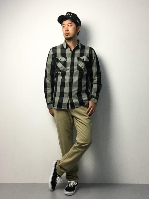 ZOZOTOWNkijiさんのシャツ/ブラウス「avirex/アヴィレックス/メンズ/ L/S FLANNEL BROCK CHECK SHIRT/ フランネル ブロックチェック シャツ(AVIREX|アヴィレックス)」を使ったコーディネート