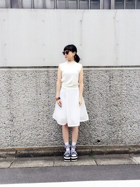 k3 PRESS|Nao Shinmuraさんの「COTTON HIGH NECK SLEEVELESS TOP(G.V.G.V.)」を使ったコーディネート