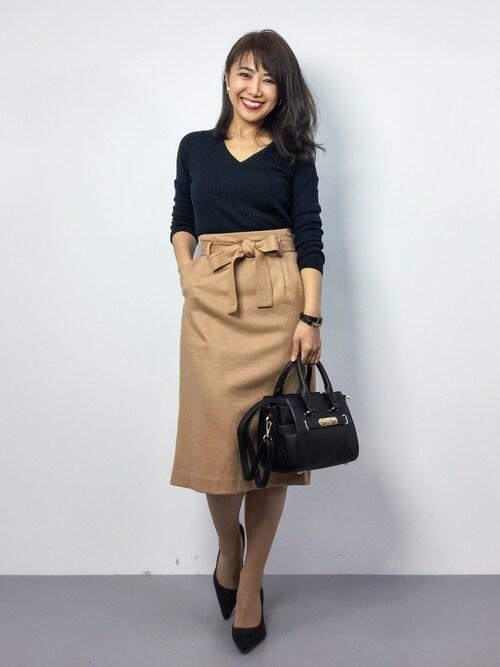 アラフォー 送迎ファッション おしゃれ スカートスタイル