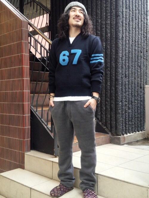 BEAVER渋谷店 A.高橋さんのニットキャップ/ビーニー「HIGHLAND 2000(ハイランド2000)  Bob Cap/ボブキャップ(HIGHLAND 2000|ハイランドトゥーサウザンド)」を使ったコーディネート