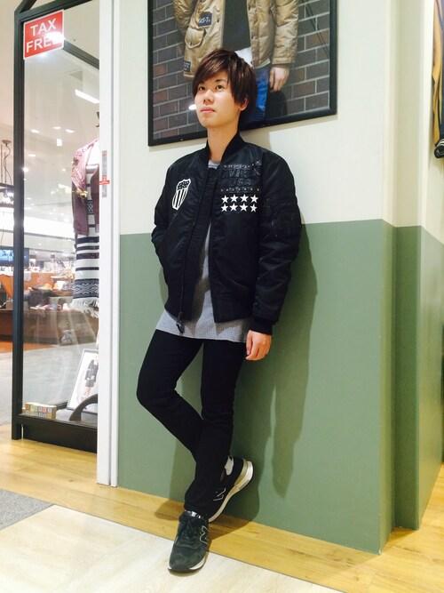 AVIREX 岡山takuroさんのTシャツ/カットソー「avirex/アヴィレックス/メンズ/L/S WAFFLE CREW NECK T-SHIRT/長袖 ワッフル クルーネック Tシャツ(AVIREX|アヴィレックス)」を使ったコーディネート