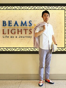 BEAMS MEN|BEAMS LIGHTS Mensさんの「BEAMS LIGHTS / OUTLASTボタンダウンシャツ(BEAMS LIGHTS Men's)」を使ったコーディネート