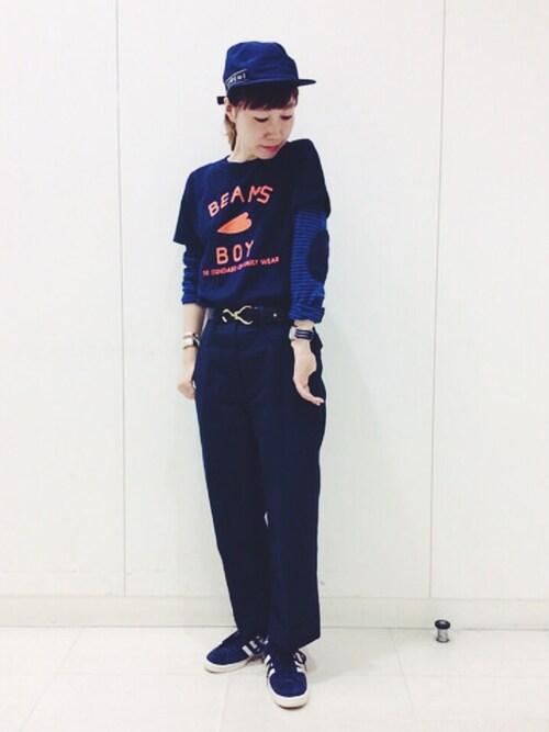ビームス 広島にーなさんのTシャツ/カットソー「BEAMS BOY / BB ロゴTEE(BEAMS BOY|ビームスボーイ)」を使ったコーディネート