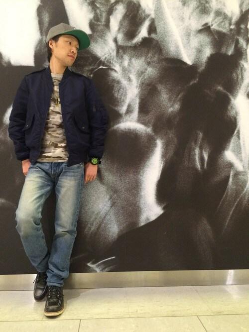 AVIREX  川崎青木毅さんのTシャツ/カットソー「avirex/アヴィレックス/メンズ/S/S CAMOUFLAGE FATIGUE T-SHIRT/半袖 迷彩 ファティーグ Tシャツ(AVIREX アヴィレックス)」を使ったコーディネート