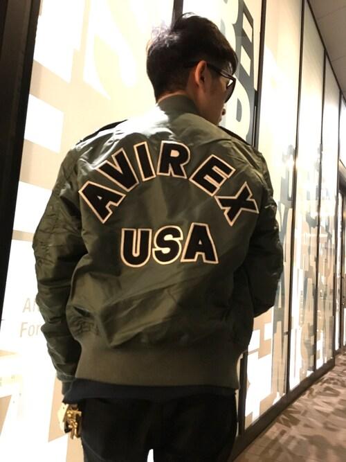 AVIREX ららぽーと横浜青木毅さんのミリタリージャケット「L-2 LOGO/ L-2 ロゴ/avirex/アヴィレックス(AVIREX|アヴィレックス)」を使ったコーディネート