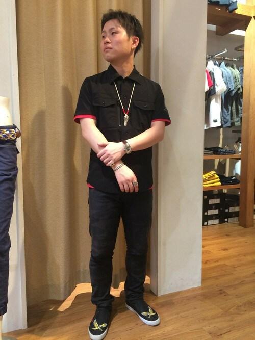 AVIREX 熱田三品文哉さんのTシャツ/カットソー「avirex/アヴィレックス/メンズ/S/S VARSITY T-SHIRT/半袖 バーシティー Tシャツ(AVIREX|アヴィレックス)」を使ったコーディネート