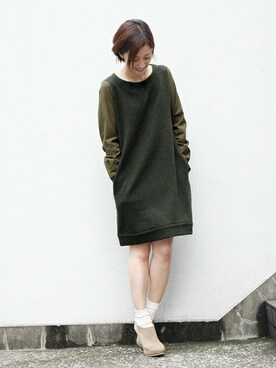 THE DUFFER OF ST.GEORGE|keiさんの「KNIT×VIYELLA DOCKING DRESS : ニットワンピース(The DUFFER of ST.GEORGE)」を使ったコーディネート
