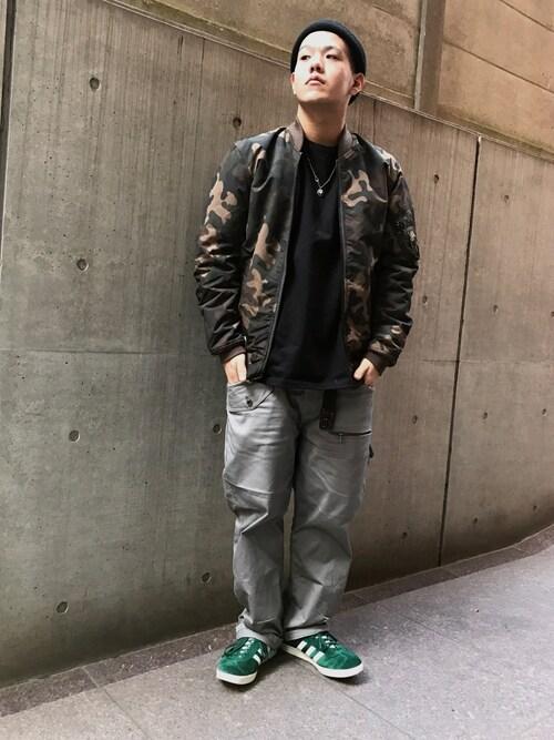"AVIREX 渋谷kazukiさんのMA-1「avirex/アヴィレックス/メンズ/MA-1 ""LIGHT ZONE""/MA-1 ""ライトゾーン""(AVIREX アヴィレックス)」を使ったコーディネート"